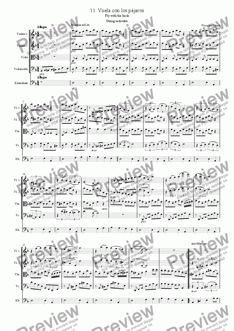 page one of String orchestra 11. (Vuela con los pajaros  - only strings)