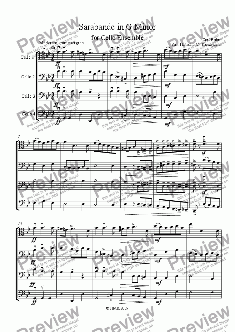 page one of Sarabande in G Minor for Cello EnsembleASALTTEXT
