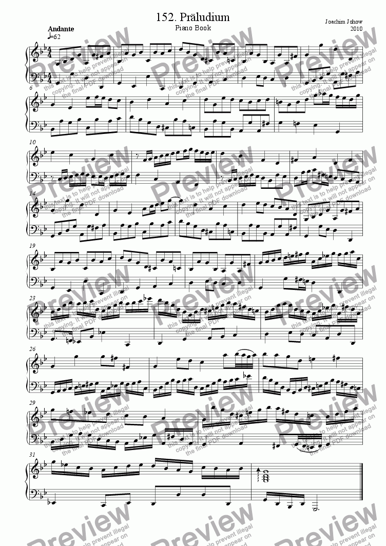 page one of Piano Book 152 (Präludium in g)