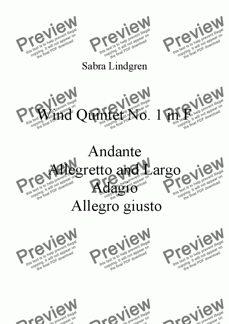 page one of Wind Quintet No. 1 in F, Allegretto and Largo
