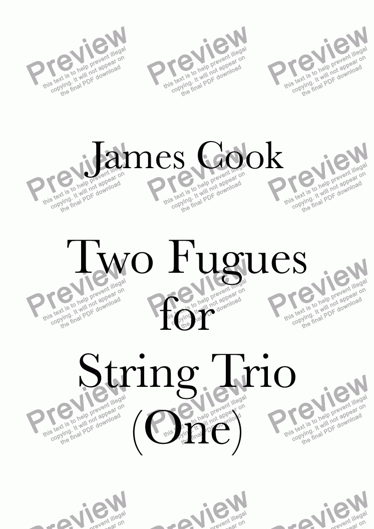 page one of Two Fugues for String Trio