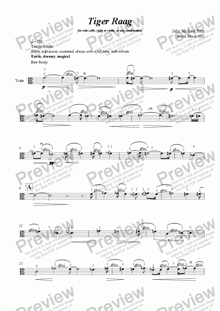 page one of Tiger Raag (solo viola) [2002]