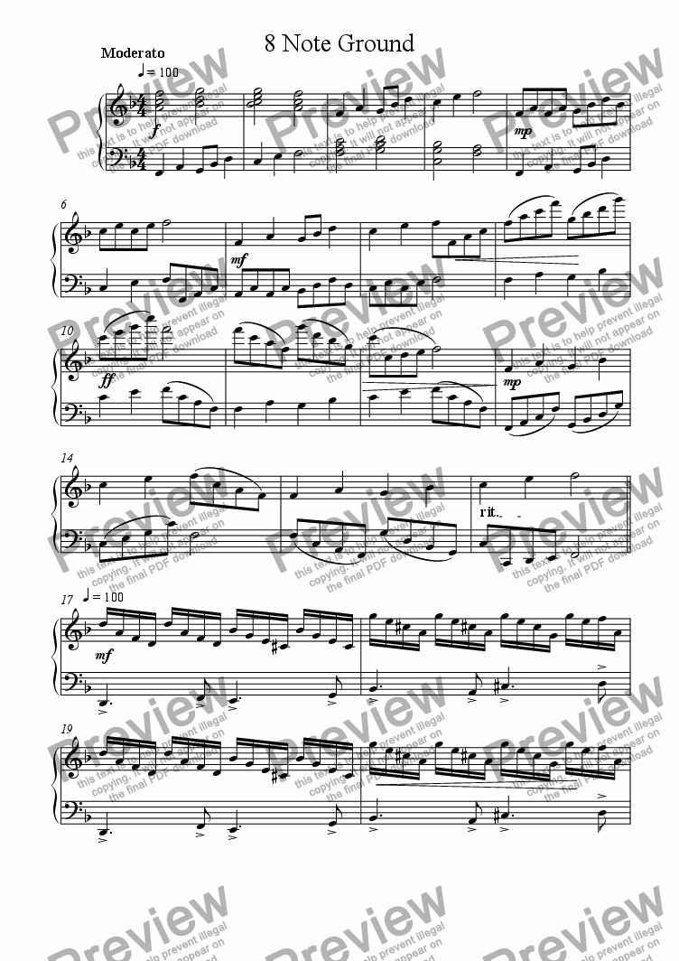 page one of Ground for Piano