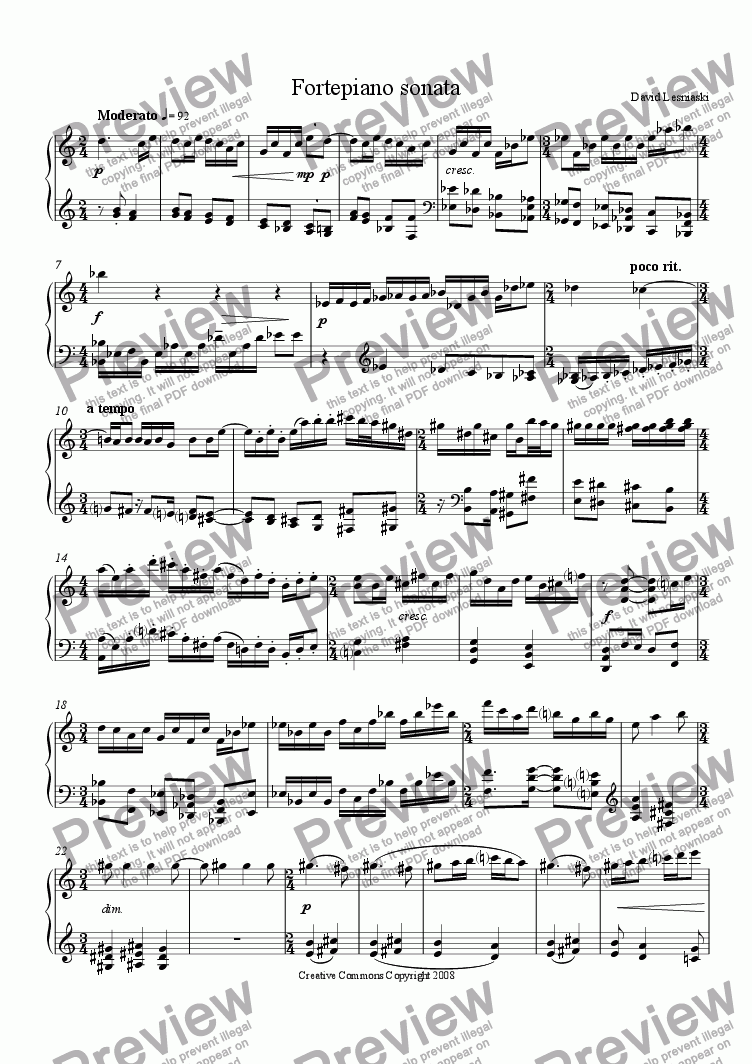 page one of Fortepiano sonata (Sonata for fortepiano or piano)ASALTTEXT