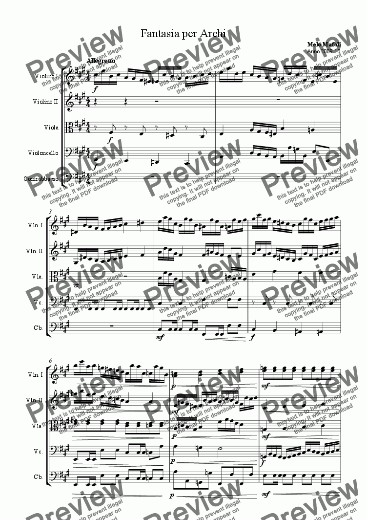 page one of Fantasia for Orchestral Strings