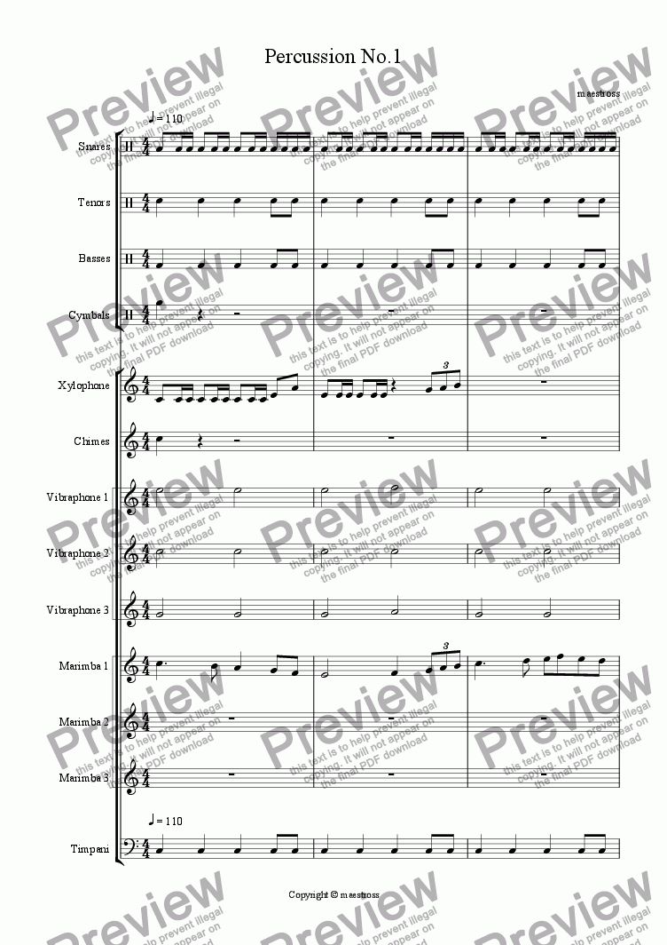 page one of Percussion No.1 (revised edition)