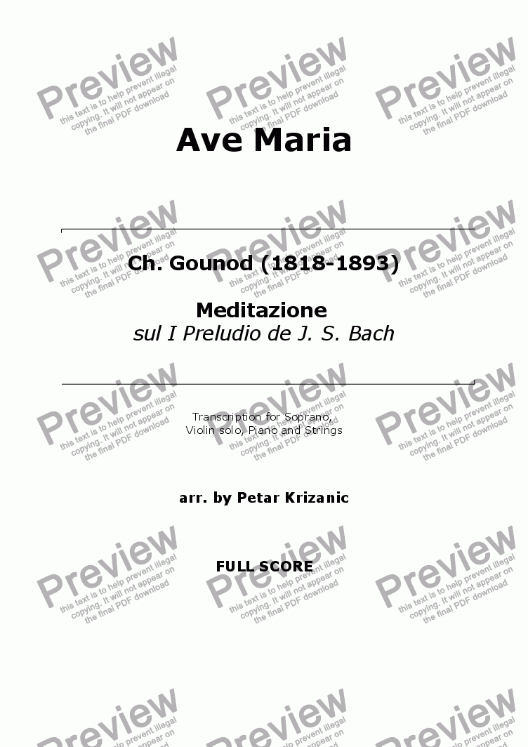page one of Ave Maria (Bach/Gounod) - for Soprano, Violin solo, Piano (Organ) and StringsASALTTEXT