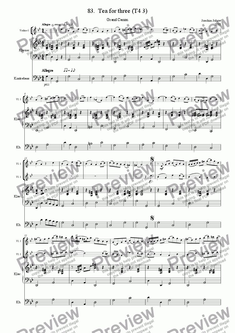 page one of Grand Canon 83 (Tea for three ) string version