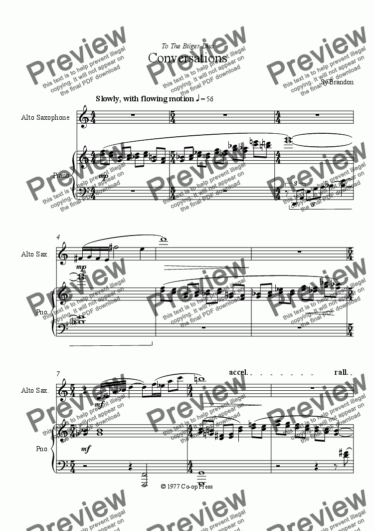 page one of Conversations for Alto Saxophone and Piano