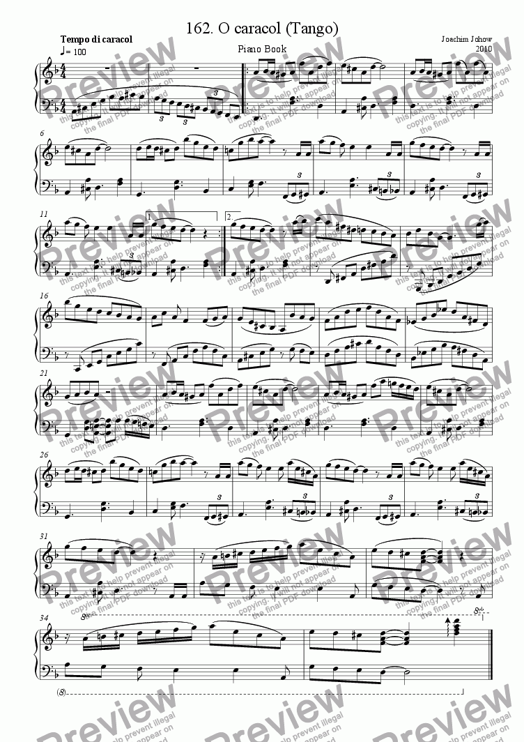 page one of Piano Book 162 (The snail - Tango)