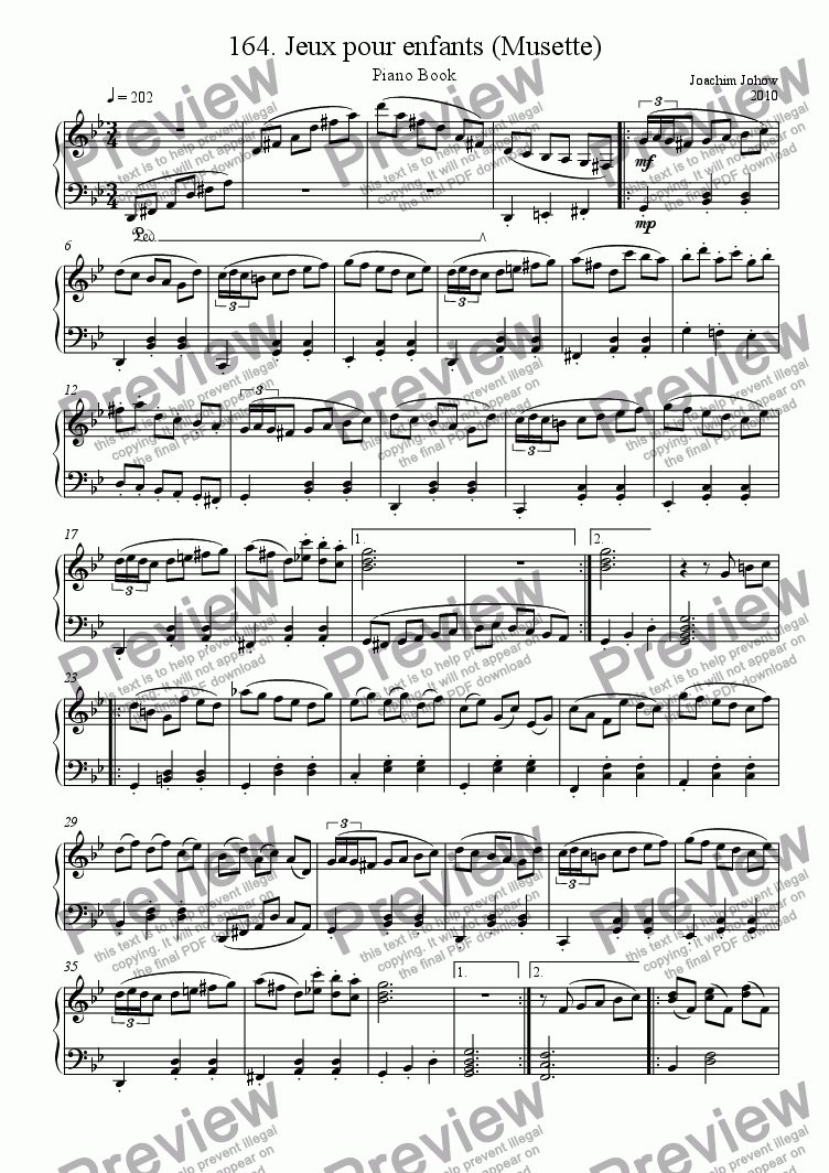 Piano Book 164 (Jeux pour enfants - Musette) for Solo instrument (Piano) by  Joachim Johow - Sheet Music PDF file to download