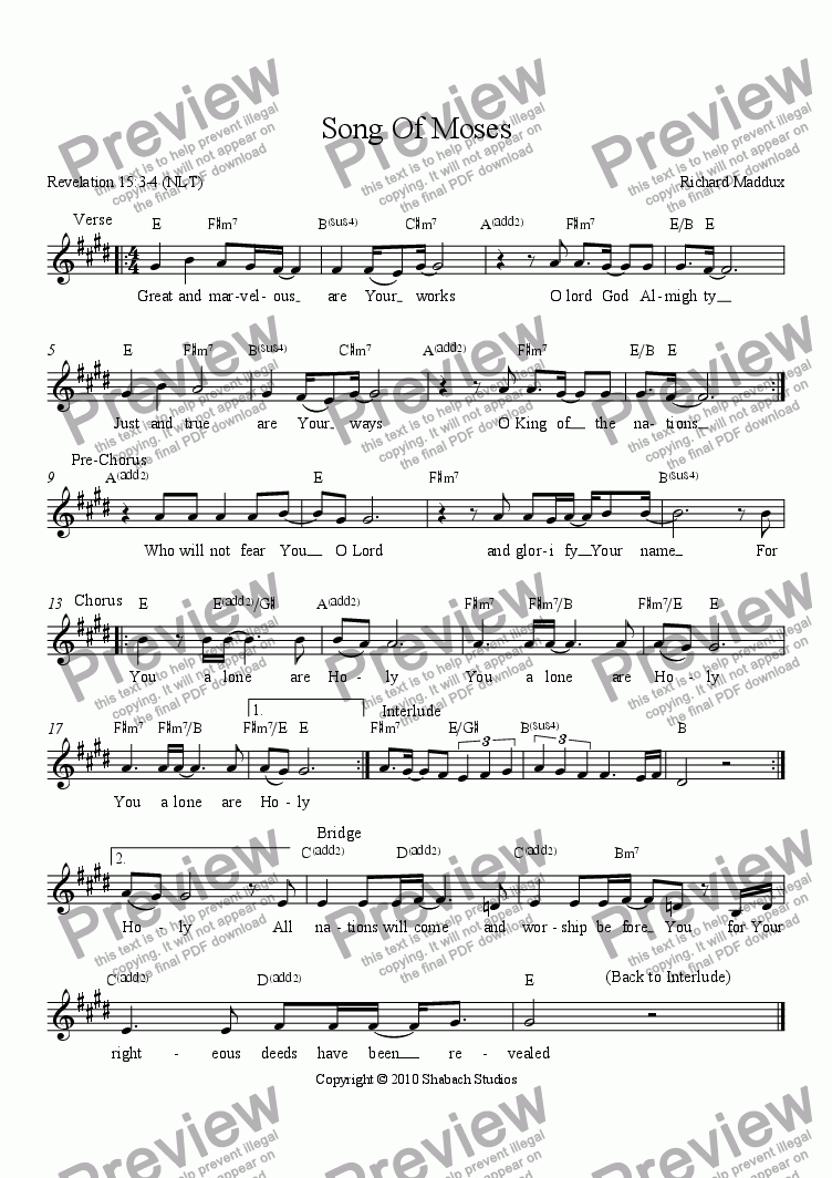 page one of Song Of Moses