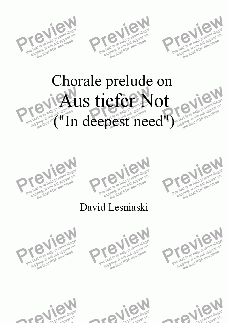 page one of Prelude on Aus tiefer Not (In deepest need) (2010 revision)