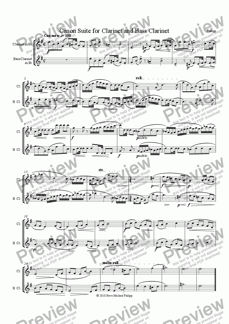 page one of Canon Suite for Clarinet and Bass Clarinet