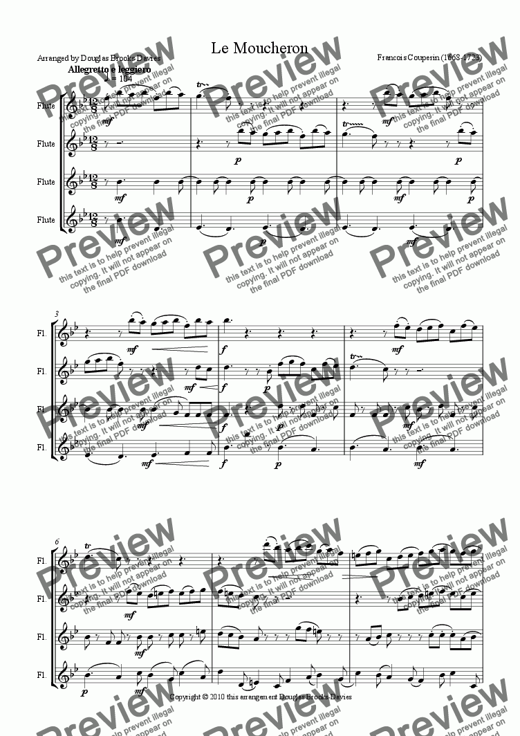 page one of Couperin: Le Moucheron arranged for 4 C flutes