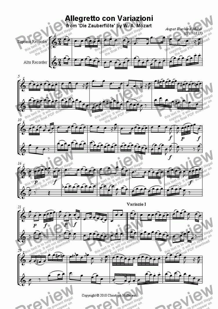 page one of Allegretto con Variazioni for SA-Recorders (from 'Die Zauberfloete' by W. A. Mozart) by A. E. MuellerASALTTEXT