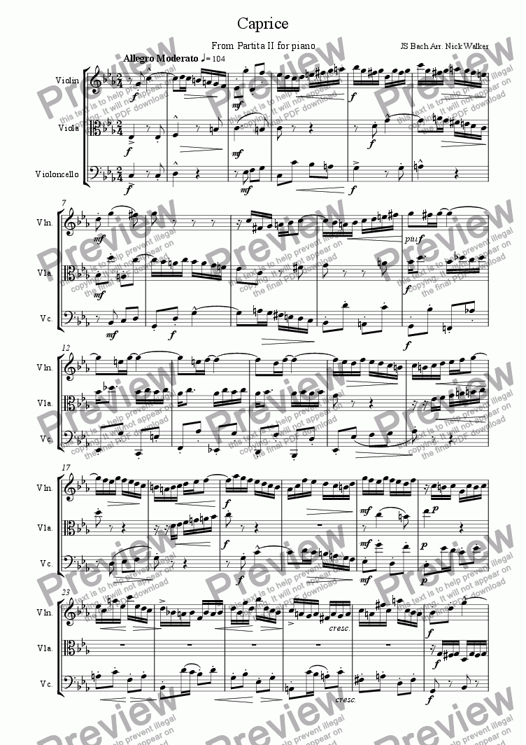 page one of Caprice - From BWV 826 — Partita No. 2 in C minor