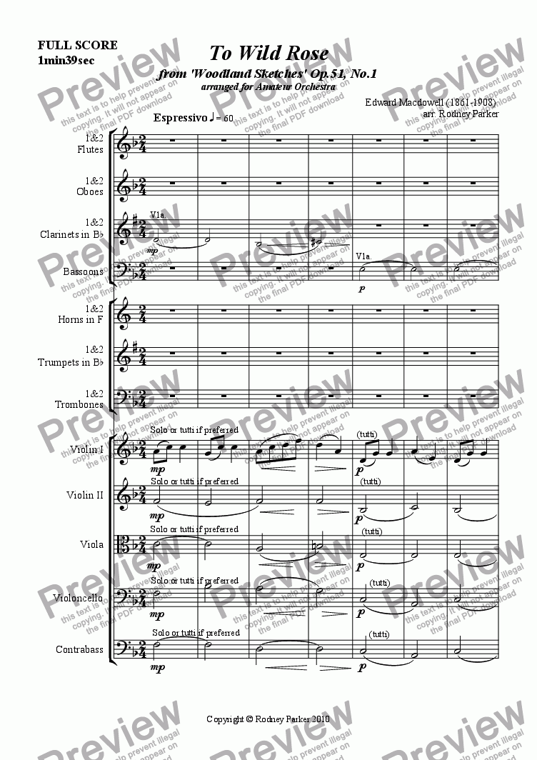 page one of To Wild Rose arr. for Amateur Orchestra