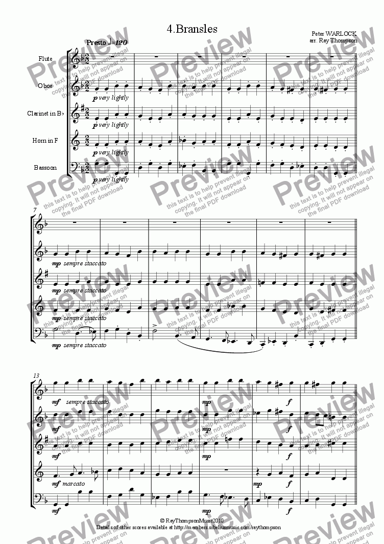 page one of Capriol Suite: 4.Bransles (Wind Quintet)ASALTTEXT