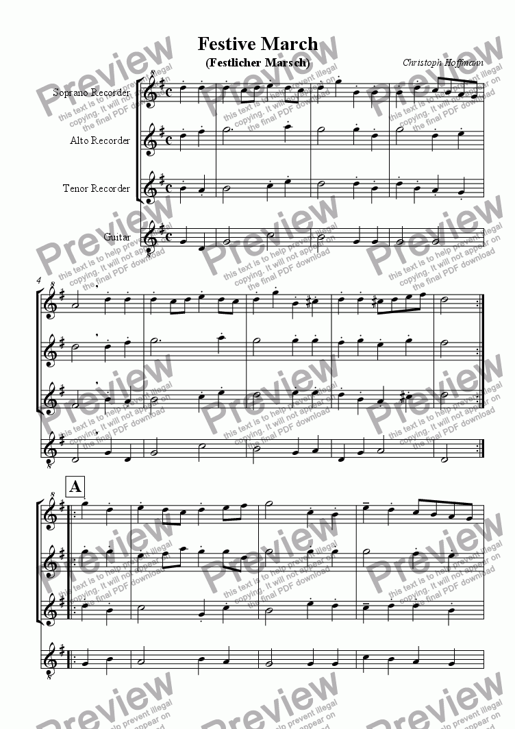 page one of Festive March (Festmarsch) for SAT-Recorders + Guitar
