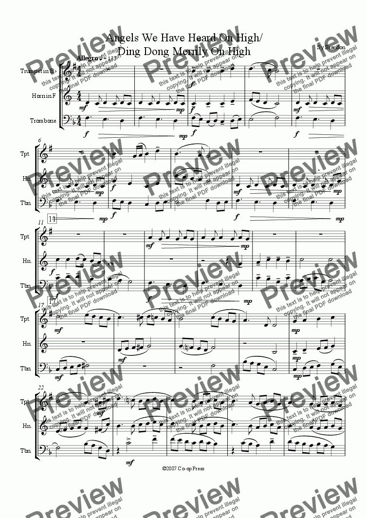 page one of Angels We Have Heard On High/Ding Dong Merrily On High for Brass Trio