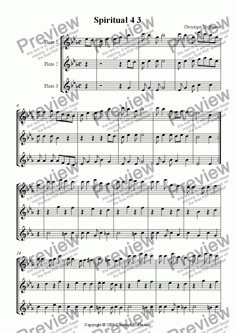 page one of D) 'Spiritual 4 3' for 3 Flutes