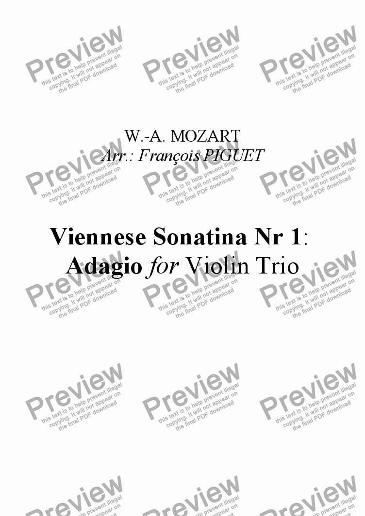 page one of Viennese Sonatina Nr 1 by MOZART: Adagio for Violin Trio