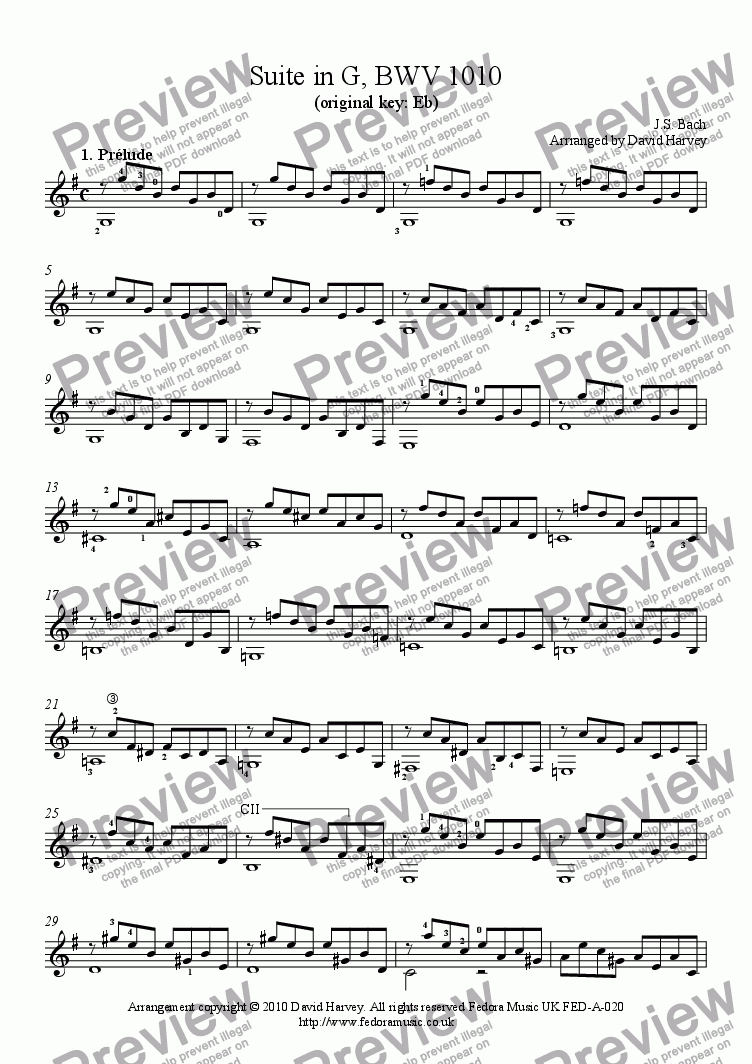 page one of Prelude in G (from 4th Cello Suite, BWV2010)