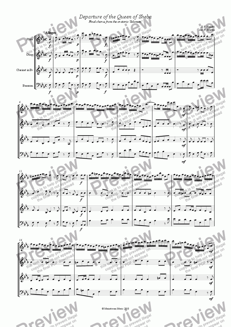 page one of Departure of the Queen of Sheba - Wind Quartet