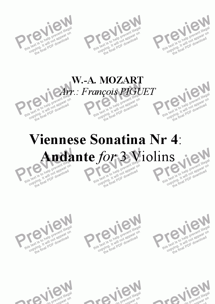 page one of Viennese Sonatina Nr 4: Andante for Violin Trio by MOZART