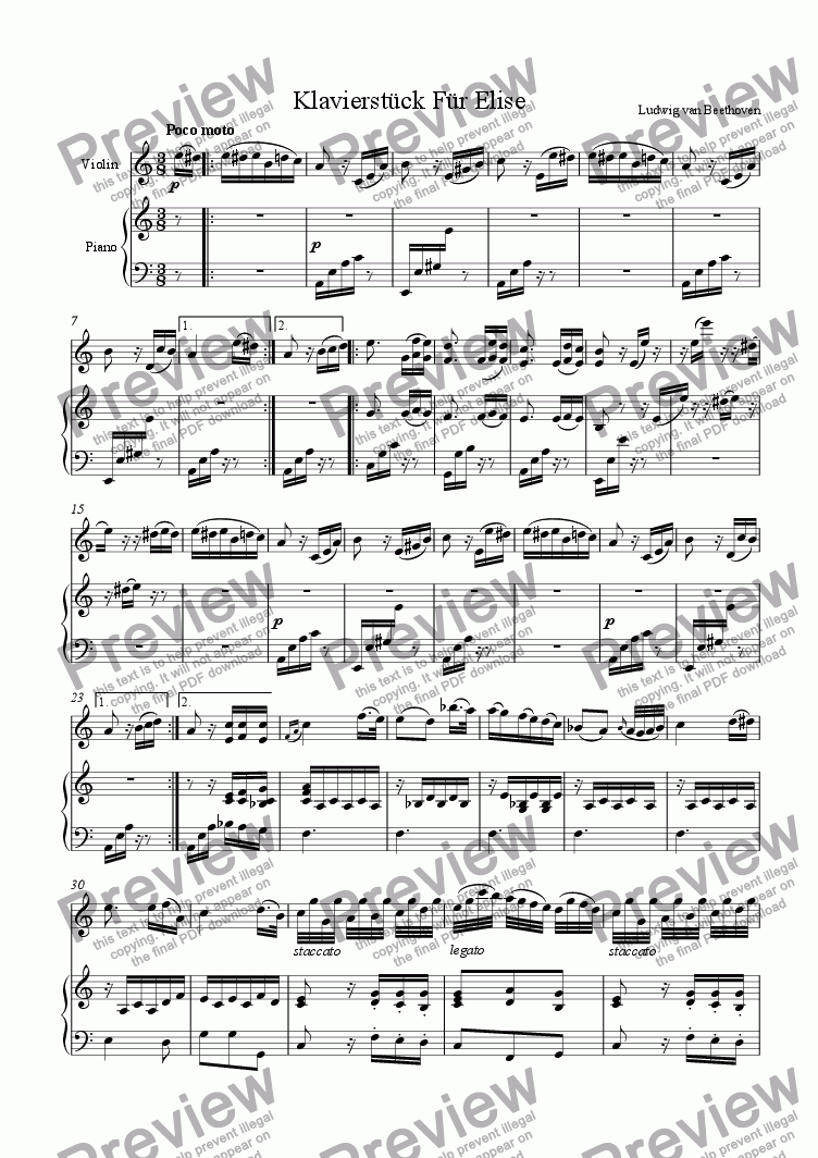 page one of Fur Elise (Violin & Piano)