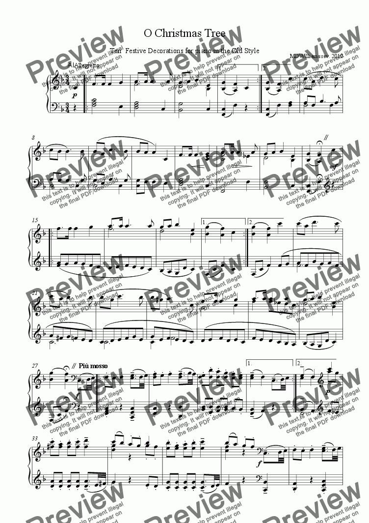 page one of Variations for piano on German song: 'O Christmas Tree'( Tannenbaum )
