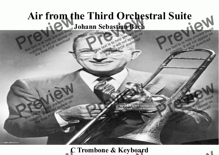 page one of Air on the G String for Trombone/Euphonium & Keyboard