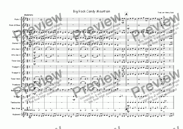 page one of Big Rock Candy Mountain (for Junior Wind Band)