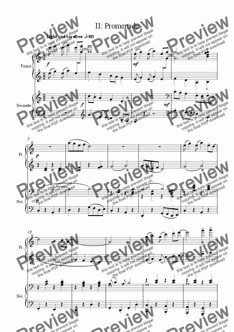 page one of Anniversary Suite for piano duet II