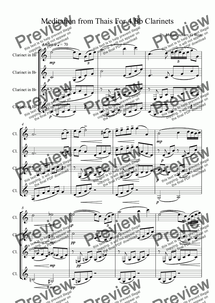 page one of Meditation from Thais For 4 Bb Clarinets