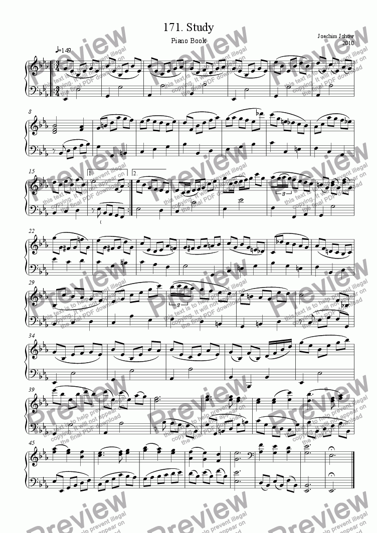 page one of Piano Book 171 (Study)