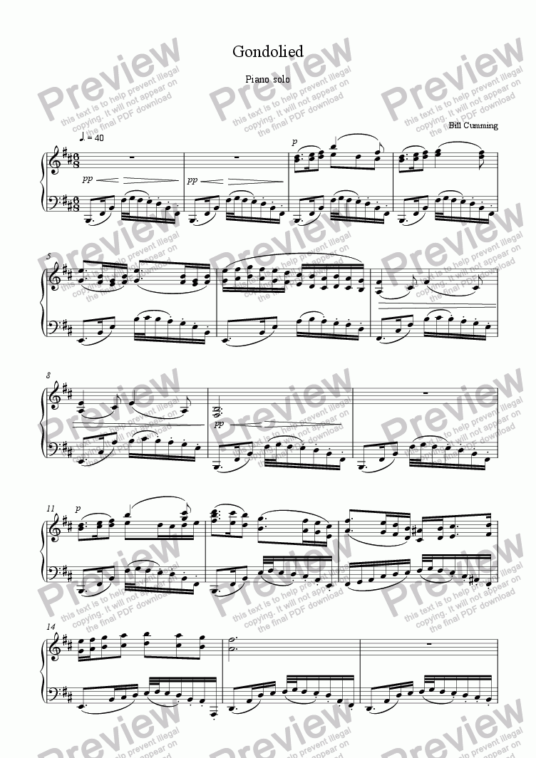 page one of Gondolied for piano