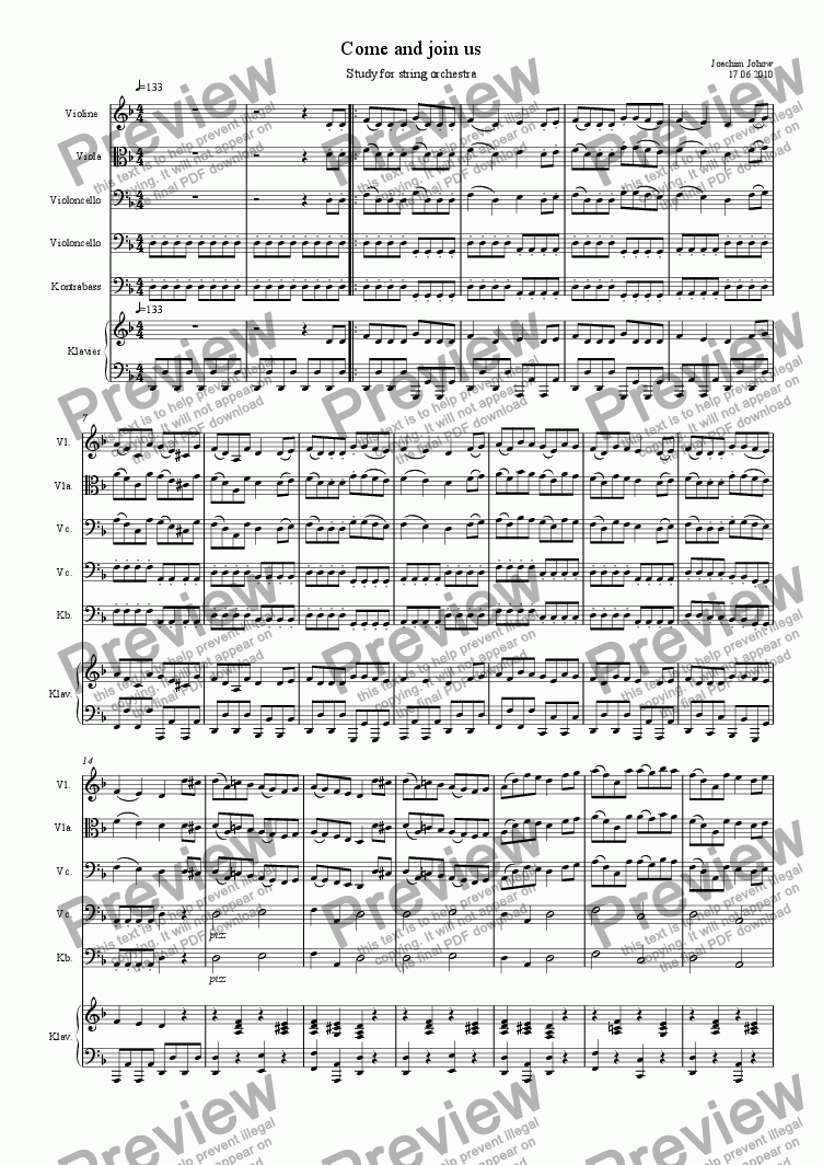page one of Come and join us (string orchestra and piano)
