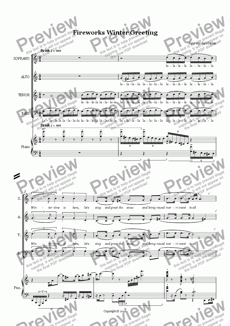 page one of Fireworks Winter Greeting (sketch, choir SATB + piano)