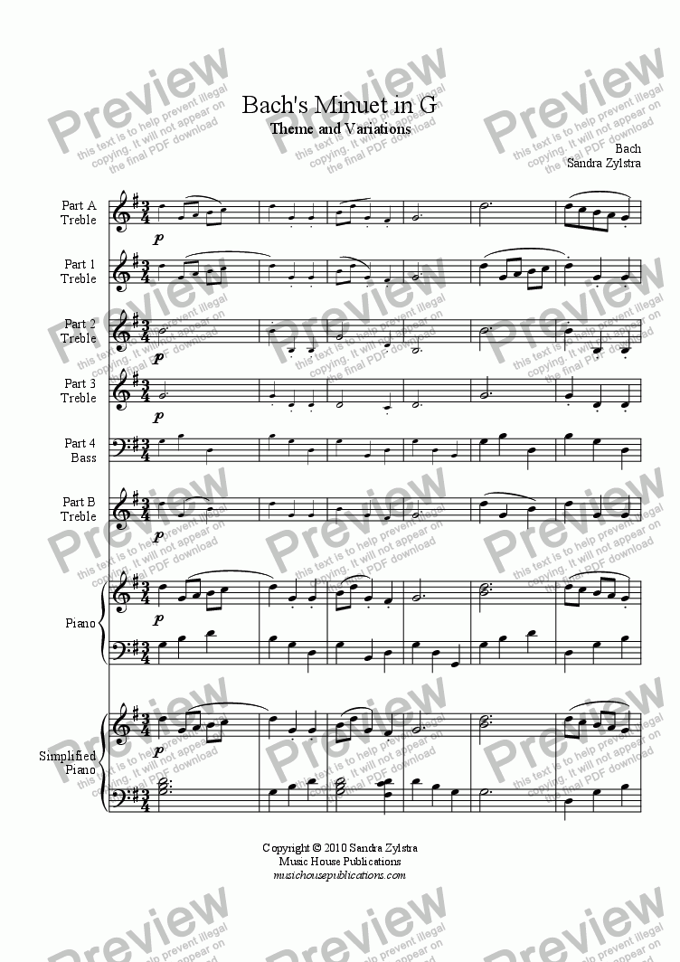 page one of Instant Ensemble: Bach's Minuet in G