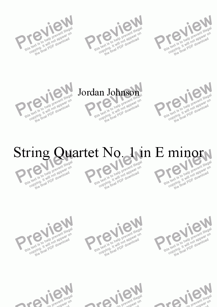 page one of String Quartet No.1 in E minor