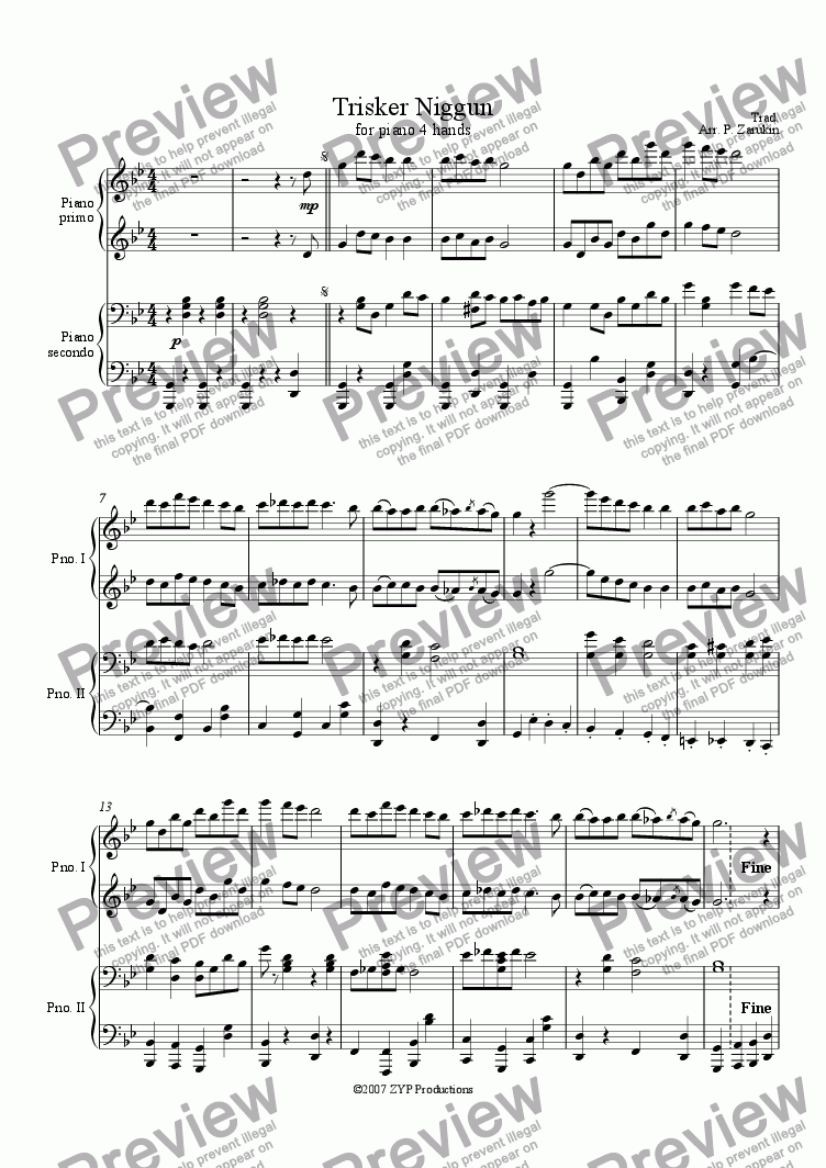 page one of Trisker Niggun for piano 4 hands