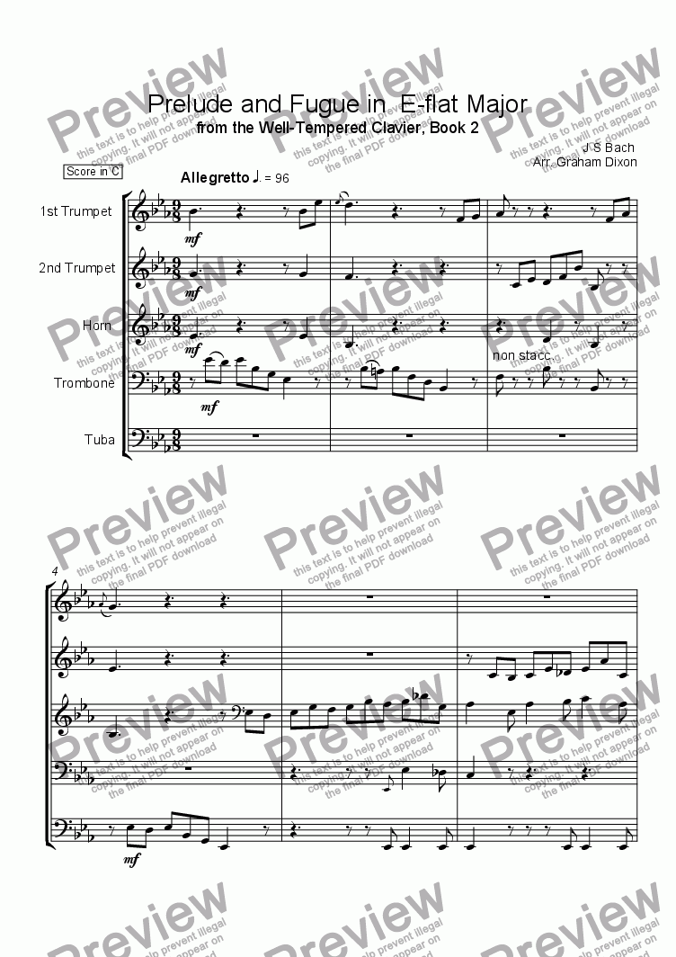 page one of Prelude and Fugue in E-flat Major (WTC Book 2)