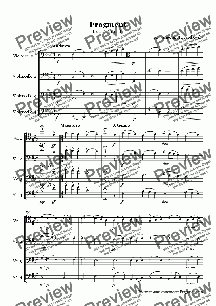 page one of Wagner Fragment from Parsifal for Cello Quartet ASALTTEXT
