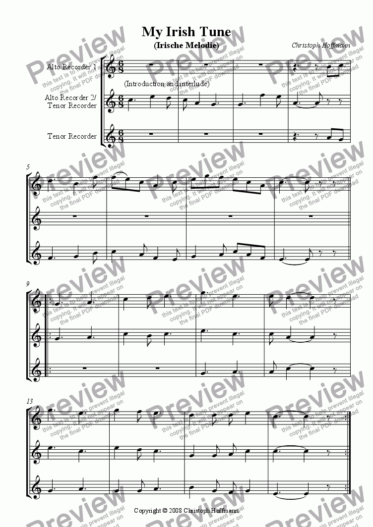page one of D) My Irish Tune (Irische Melodie) for AAT/ATT-Recorders