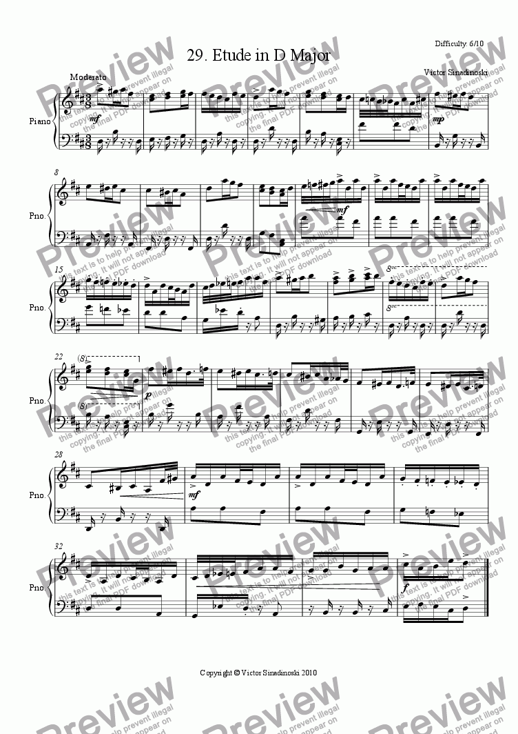 page one of Etude in D Major