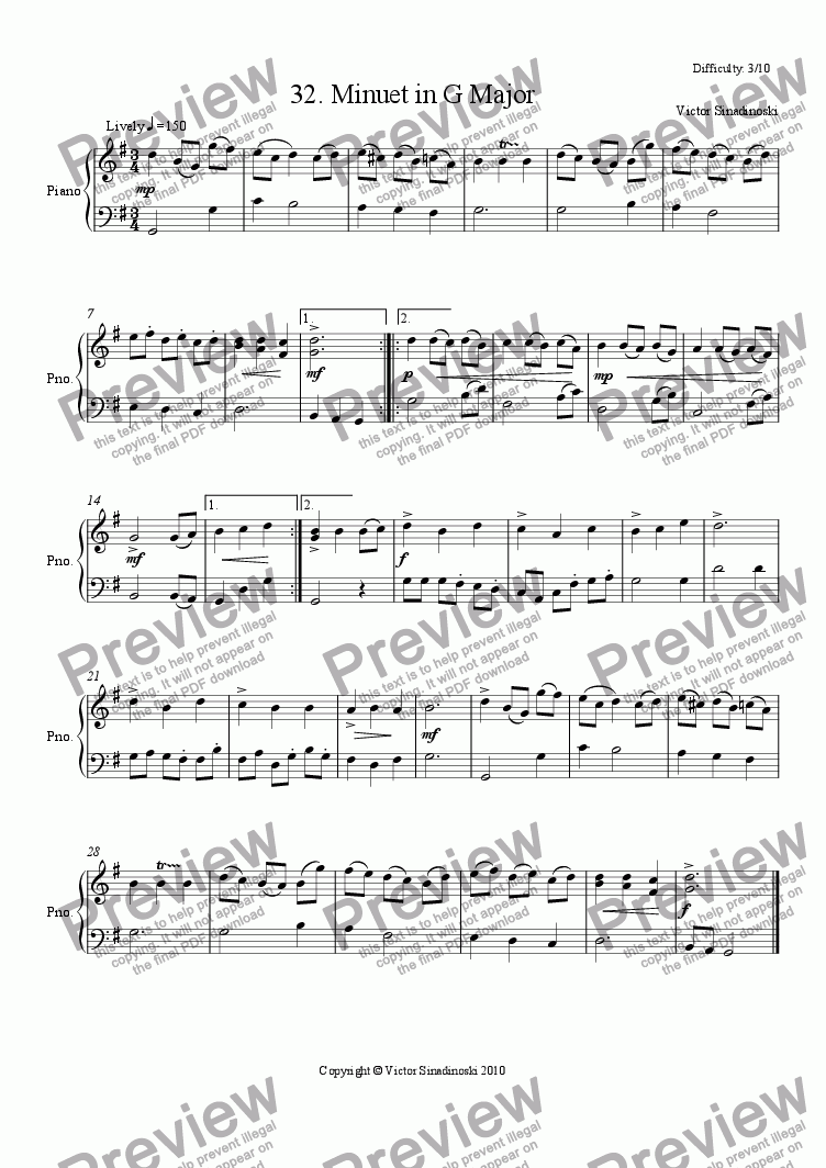 page one of Minuet in G Major