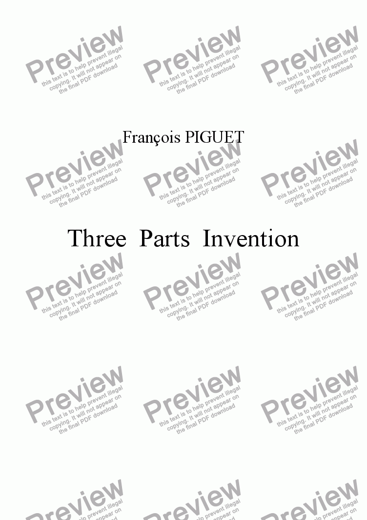 page one of Three Parts Invention