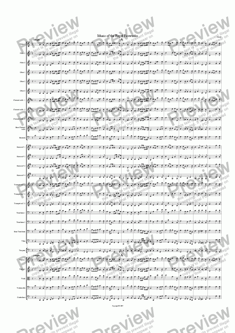 page one of Music for the Royal Fireworks